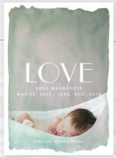 Baby love - Watercolor Birth Announcement by Minted artist J.Bartyn,