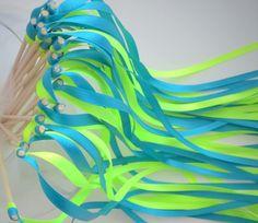 Déco pour mariage 20 Batons Rubans pour Haie d'honneur mariage vert anis et turquoise : Accessoires de maison par baguetteruban