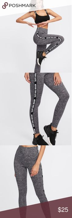 Letter Print Side Marled Knit Leggings 0  Home » Leggings » Letter Print Side Marled Knit Leggings  ProductDetail  Description  Style : Sporty  Type : Regular  Pattern Type : Letter  Color : Grey  Material : 95% Polyester, 5% Spandex  Length : Crop  Fabric : Fabric is very stretchy  Waist (cm) : XS: 59 - 92 cm, S: 63 - 96 cm, M: 67 - 100 cm, L: 71 - 104 cm  Hip Size (cm) : XS: 72.5 cm, S: 76.5 cm, M: 80.5 cm, L: 84.5 cm  Thigh (cm) : XS: 45.5 cm, S: 47.5 cm, M: 49.5 cm, L: 51.5 cm  Length…
