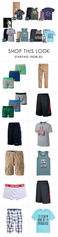 """""""Jake This Week"""" by thesummitfam ❤ liked on Polyvore featuring Uniqlo, The Children's Place, Marvel, NIKE, Volcom, Billabong, Diesel, Old Navy, men's fashion and menswear"""