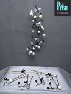 Crystal and Pearl Mini Hair Vine and Pin Set by PrismBouquets, $20.00