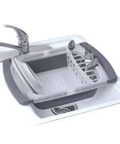 """Collapsible Over-the-Sink Dish Drainer ~ I can't even begin to explain how awesome this product is to me! With a extremely tiny apartment kitchen, counter space is a precious commodity! ~ """"Conserve counter and cupboard space with this clever collapsible dish drainer. When the plates are dry and clean, just collapse the drainer for completely compact storage. A removable utensil rack makes it a versatile addition to the kitchen arsenal."""""""