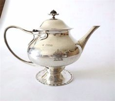 Guild of Handicrafts silver teapot, London 1901   :   By Charles Ashbee with his CRA hallmark