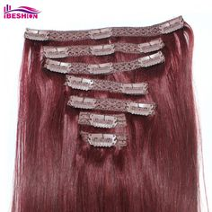 Ibeshion 100g Clip In With Lace 7pcs 15 Clips 20 Inch #99J Dark Wine Color Remy Human Hair Extensions