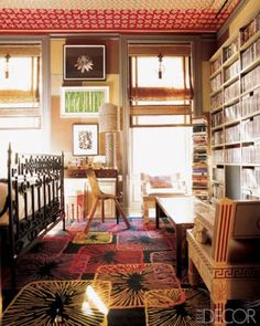 In the media/guest room of a Manhattan townhouse designed by Muriel Brandolini, the