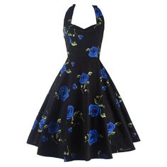Halt dress shows beautiful neck and round shoulder,large area of flower printing is fashionable. Features: 100% brand new and high quality Vintage style Soft and comfortable to wear The best festival