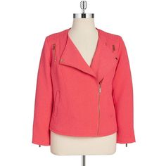 Calvin Klein Plus Textured Moto Jacket (92 CAD) ❤ liked on Polyvore featuring plus size women's fashion, plus size clothing, plus size outerwear, plus size jackets, coats & jackets, plus size, watermelon, red motorcycle jacket, textured jacket and red biker jacket