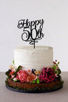 Happy 50th Birthday Cake Topper 50 Years by HolidayCakeTopper