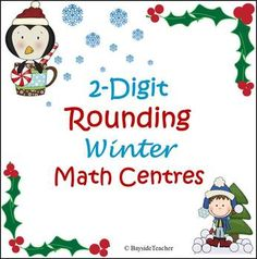 Two-Digit Rounding Winter Math Centres