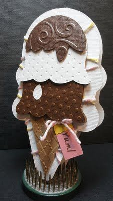 Ice Cream Cone Sweet Treats Cricut cartridge - adapt for cameo ? Cricut Cards, Stampin Up Cards, Shaped Cards, Cricut Creations, Card Tags, Kids Cards, Cool Cards, Creative Cards, Scrapbook Cards