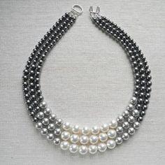 Color Block Triple Decker Necklace - in Gray - 3 Strand Colored Pearl Necklace. $78.00, via Etsy. Más