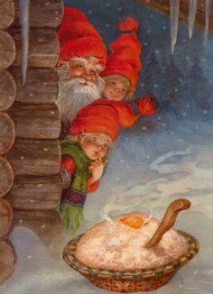 Tomte spotting his Christmas porridge left by a family Vintage Christmas Cards, Christmas Pictures, Vintage Cards, Vintage Postcards, Christmas Gnome, Christmas Art, Winter Christmas, Illustration Noel, Christmas Illustration