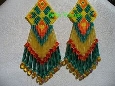 brick stitched Summer Time Fun Native American inspired earrings on Wanelo