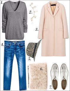 Zara pink coat, silver oxfords and silver Cambridge Satchel