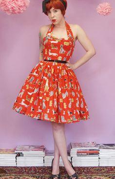 Red Halter Dog Print Dress