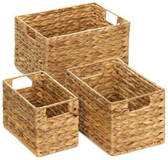 Organize your magazines mail bath accessories and so much more with this handsome trio of nesting baskets. Their wire frames and thick woven structure make them as fashionable as they are functional. Straw nesting basket set by Rustica House. #myRustica