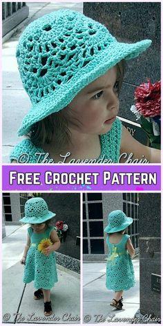 Little Girls Lacy Shells Dress^ Set Crochet Free Patterns