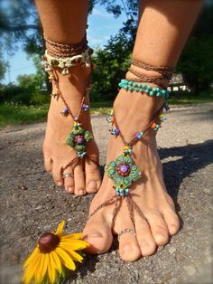 green BAREFOOT SANDALS SUMMER crochet sandals beaded by GPyoga, I want these so bad I can hardly stand it!