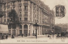 La rue du Temple en face du square (du Temple), vers 1900.