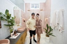 The Block 2020: Master Ensuite Reveals The Block Bathroom, Fish Scale Tile, Smart Toilet, Beaumont Tiles, Pink Towels, Black Bath, Wall Hung Vanity, Curved Walls, Beautiful Fish
