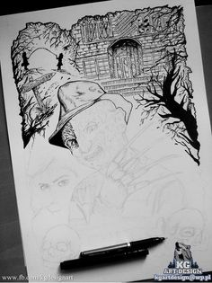 Freddy Krueger ink drawign WIP by https://www.facebook.com/KGDesignArt/