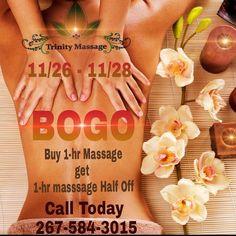 BOGO! Buy one get one half off massage #trinitymassagehaven #elliedukes #massagebluebell #massage #blackfriday #smallbusinesssaturday #cybermonday