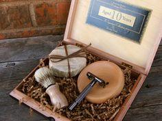 Wooden Men's Shave Set with Vintage Cigar Box.