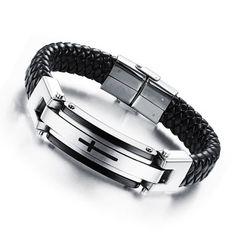 Silver and Metal Cross Bracelet