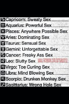 Zodiac Signs and sex....  Freaky.  lol luv luv it!!: