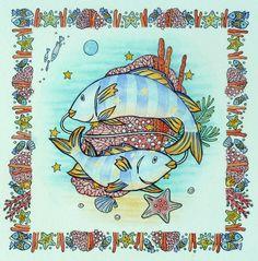 'Pisces' illustration for a calendar.