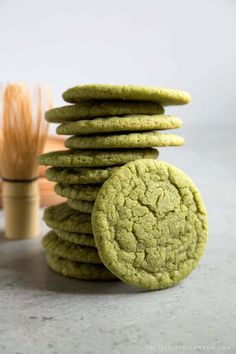 These soft and chewy matcha sugar cookies are super easy to make. Grab some matcha ice cream and turn these babies into ice cream sandwiches! Matcha Cookies, Green Tea Cookies, Sugar Cookies, Baby Cookies, Heart Cookies, Valentine Cookies, Easter Cookies, Birthday Cookies, Christmas Cookies