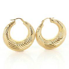 Vintage 14 Karat Yellow Gold Textured Hoop Earrings Fine Estate Jewelry