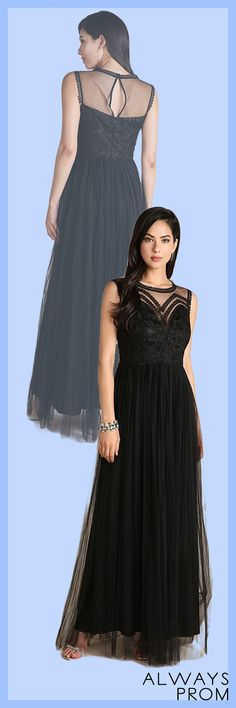 Long Casual Dress with illusion neckline and floral tracery 74a74bd05