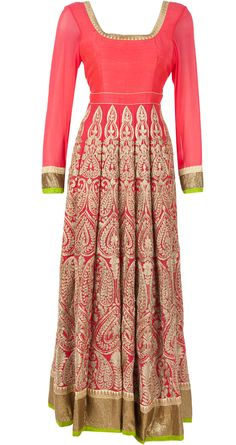 Coral aari kali kurta - This set features a heavy coral anarkali with aari embroidery on the kali's. It comes along with a net dupatta with golden and coral border and churidaar. - ANEESH AGARWAAL
