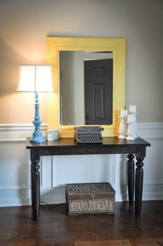 Entry way table DIY lamp DIY candle sticks DIY yellow mirror Thrifted table thrifted typewriter