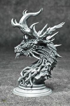ArtStation - Forest Dragon bust kit, Paul Tan