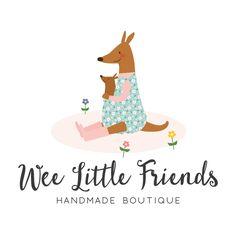 Premade Logo - Mama Kangaroo & Joey Premade Logo Design - Customized with Your Business Name!