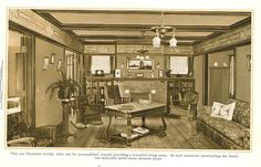 """Beautiful Living Room from """"The Home Beautiful"""" 1915. Nice frieze."""