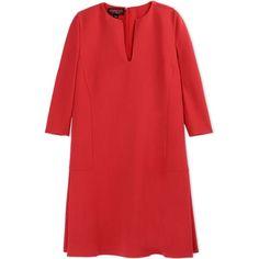 Giambattista Valli Short Dress (9.810 VEF) ❤ liked on Polyvore featuring dresses, red, red dress, back zipper dress, red pleated dress, 3/4 sleeve dress и red three quarter sleeve dress