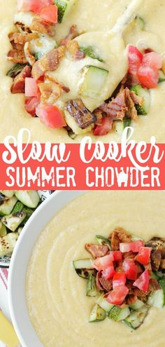 This slow cooker summer chowder uses the slow cooker to transform late summer corn into a rich and velvety chowder, topped off with bacon, zucchini and fresh tomato. Healthy Slow Cooker, Slow Cooker Soup, Slow Cooker Recipes, Crockpot Recipes, Quick Soup Recipes, Chowder Recipes, Healthy Recipes, Farmers Market Recipes, Tailgating Recipes