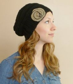 Women's Slouchy Beehive Black Knit Hat with by BoPeepsBonnets, $45.00