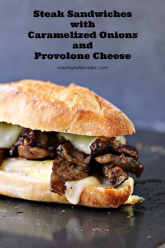 Steak Sandwiches With Caramelized Onions And Provolone Cheese From This Easy Recipe Will Be A Hit With Everyone Who Tries It. Barbecued Steak, Caramelized Onions, Provolone Cheese, All Stacked Perfectly On A French Baguette. Take A Bite Cravingslunatic Roast Beef Sandwich, Steak Sandwich Recipes, Panini Sandwiches, Grilled Steak Recipes, Soup And Sandwich, Grilled Meat, Wrap Sandwiches, Vegetarian Sandwiches, Grilled Steaks