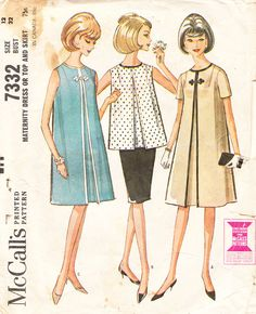 Vintage 1960s Maternity Dress with Inverted Center Pleat, Sleeveless Blouse, and Slim Skirt - McCall's Sewing Pattern 7332