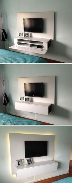 5 Magical Cool Ideas: Floating Shelves Tv Wall How To Build floating shelf living room bedside tables.Floating Shelves Tv Wall Simple floating shelf over couch book shelves. Floating Shelf With Drawer, Floating Tv Stand, Floating Shelves Bedroom, Floating Shelves Kitchen, Rustic Floating Shelves, Glass Shelves, Tv Cabinet Design, Tv Wall Design, Tv Furniture