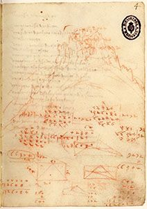 Madrid Ms. II, 4r. - The fortress and mountain of Verruca, c. 1503.