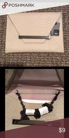 NWT Mossimo Faux Leather Clutch Handbag Taupe Flap closure front, faux snakeskin print, removable chain strap.  7in. H x 10in. W Mossimo Supply Co Bags Clutches & Wristlets