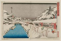 """Utagawa Hiroshige I 歌川広重 """"Snow at Akabane Bridge in Shiba""""  from the series """"Famous Places in the Eastern Capital, """" about 1832–38  「東都名所 芝赤羽根之雪」 Woodblock print (nishiki-e); ink and color on paper"""