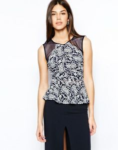 Enlarge TFNC Lace Peplum Top With Mesh Inserts