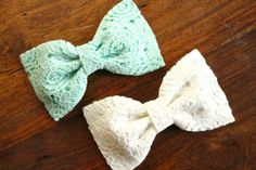 Baby Girl, Toddler, Girls Lace Bow Headband or Hair Clip - Ivory, Mint $9.50