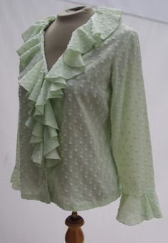 Vintage 60s MOD Pale Green Sheer Cotton Ruffled Blouse Top B38
